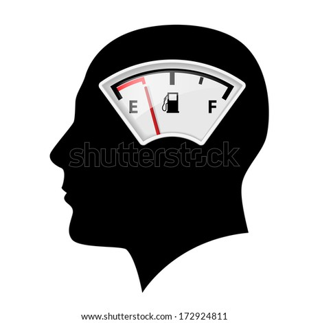 Black head silhouette with fuel indicator as idea concept - stock vector