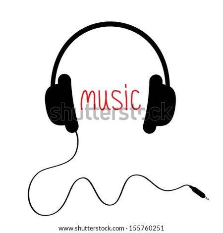 Black headphones with cord and red word Music.  Card. Vector illustration. - stock vector
