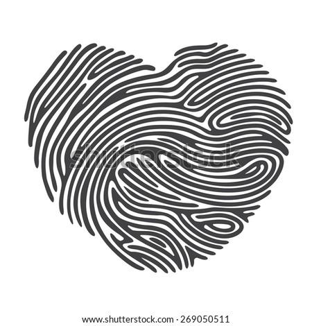Black Heart Shape Finger Print - stock vector