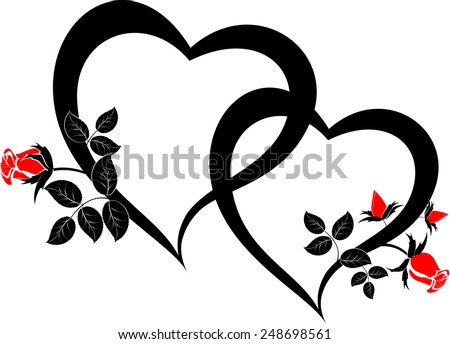 Black hearts with red rose buds. EPS10 vector illustration. - stock vector