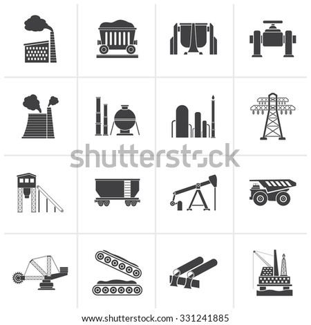 Black Heavy industry icons - vector icon set