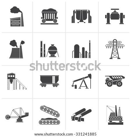 Black Heavy industry icons - vector icon set - stock vector