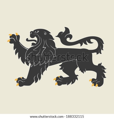 Black heraldic lion. Vector illustration - stock vector