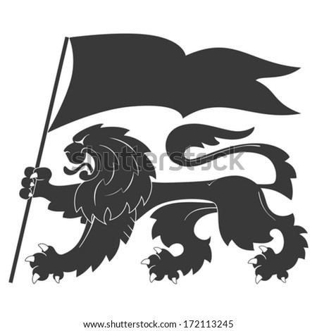 Black heraldic lion with flag - stock vector