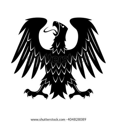 Black heraldic silhouette of medieval eagle with raised wings, outstretched legs and turned head. May be use as heraldry theme, eagle displayed  heraldic symbol or t-shirt print design - stock vector