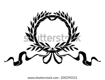 Black heraldic wreath with laurel leaves and ribbons elements - stock vector