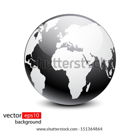 Black highdetailed earth ball vector stock vector 151364864 black high detailed earth ball vector gumiabroncs Gallery