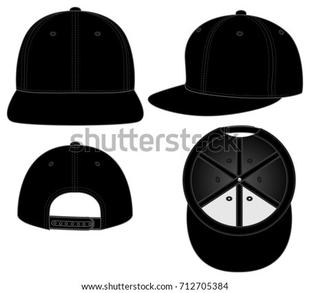 black hip hop hats foe template stock vector royalty free