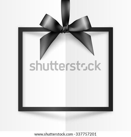 Black holiday squared frame with bow and silky ribbon - stock vector