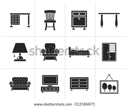 Black Home Equipment and Furniture icons - vector icon set - stock vector