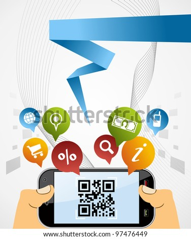 Black horizontal smartphone with QR code app on white background. EPS 8 vector, cleanly built with no open shapes or strokes. Grouped and ordered in layers for easy editing. - stock vector