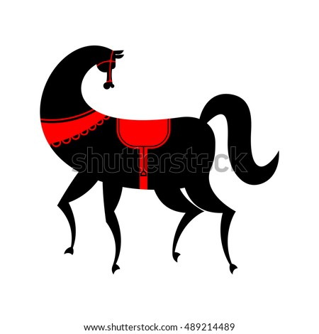Black Horse Gorodets painting. Russian national folk craft. Elements of traditional painting in Russia
