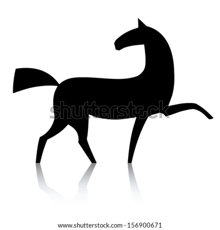 Black horse silhouette isolated on white background. Vector illustration or icon. - stock vector