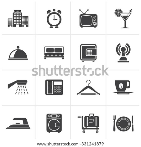 Black Hotel, motel and travel icons - vector icon set - stock vector