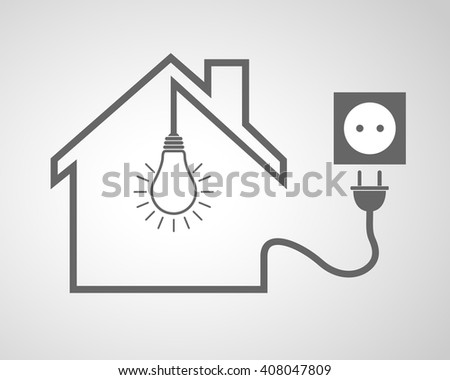 Black house with socket and light bulb - vector illustration. Simple icon with house silhouette, light bulb and socket with plug. - stock vector