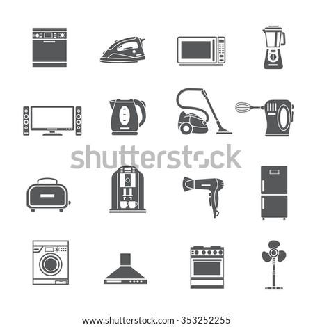 Black  household appliances icons set with kettle blender toaster vacuum iron  refrigerator washing stove isolated vector illustration    - stock vector