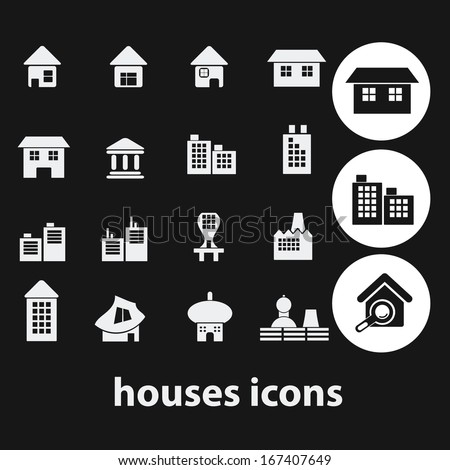 black houses, buildings icons, signs set, vector - stock vector