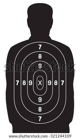 black human target (shooting target) - stock vector