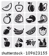 black icon fruit vector set - stock vector