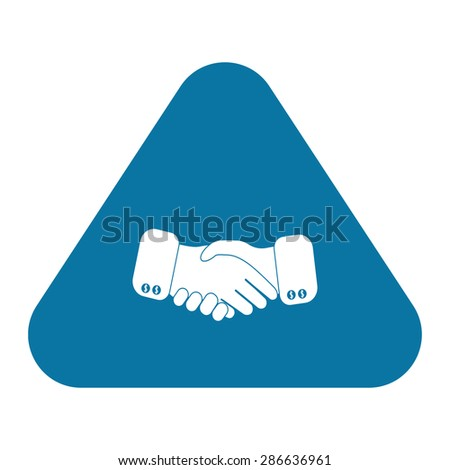 black icon handshake. background for business and finance wiyh shadow