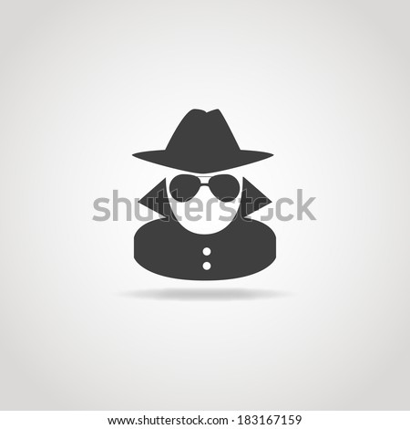 Black icon of anonymous spy agent. - stock vector