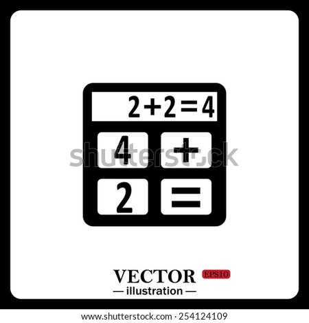 Black icon on white background. icon calculator, vector illustration, EPS 10 - stock vector