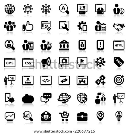 black icon set isolated for business seo  - stock vector