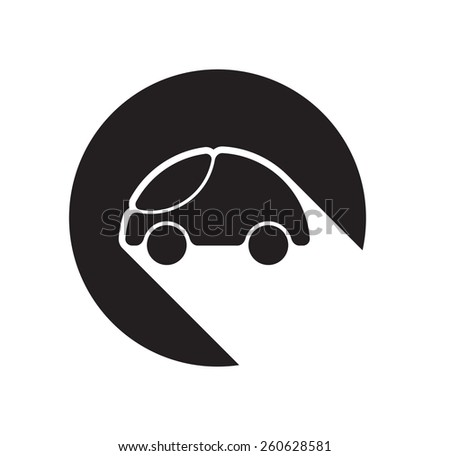 black icon with car and white stylized shadow - stock vector