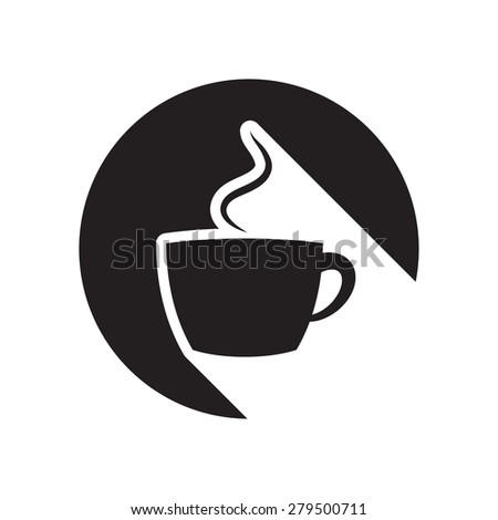 black icon with cup and white stylized shadow - stock vector