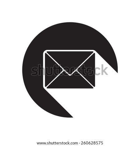 black icon with mailing envelope and white stylized shadow - stock vector