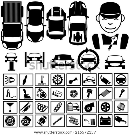 Black icons for garage  - stock vector