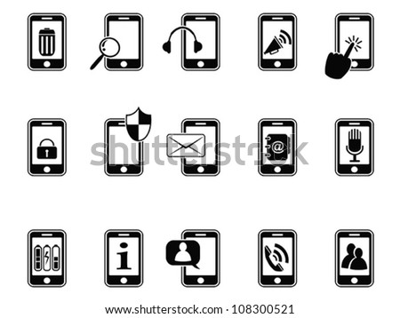 black icons for mobile phone - stock vector