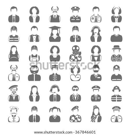 Black Icons - People - stock vector