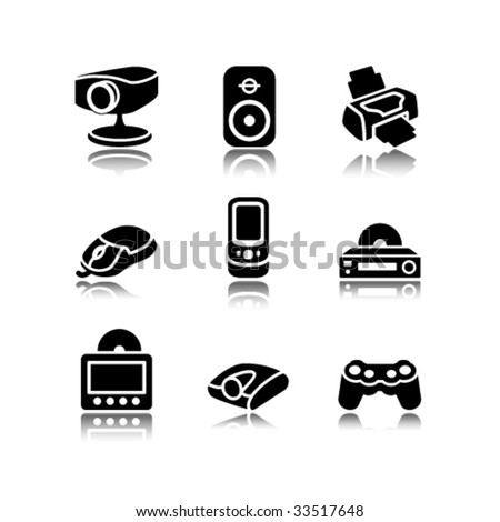 Black icons set 21 - stock vector