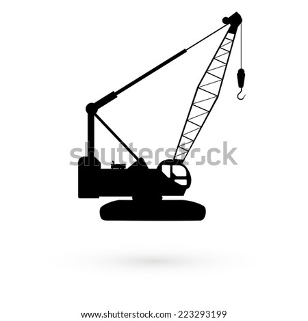 Black icons stencil hoisting crane. Vector - stock vector