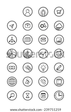 Black icons vector collection  - stock vector