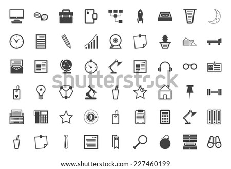 Black icons vector collection for freelance and business. Set of 54 business and freelance black vector icons on white background. - stock vector