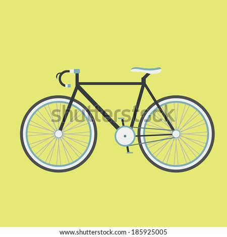 black illustration bicycle, flat style - stock vector