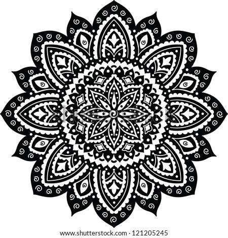 Black Indian ornament mandala - stock vector