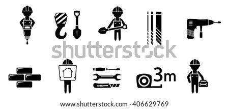 black industrial concept icon set on white background - stock vector