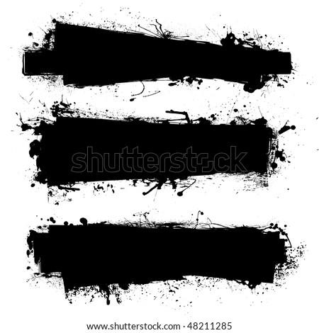 Black ink banner with ink grunge effect and copy space - stock vector