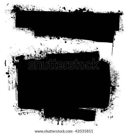 Black ink banners with grunge effect and copy space for your text - stock vector