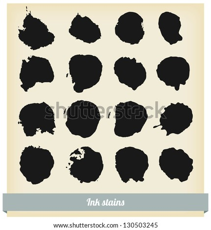 black ink blots - stock vector