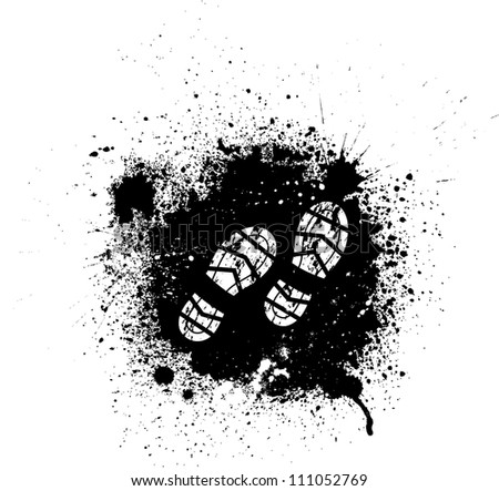 Black ink blots and white footprints - stock vector