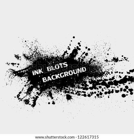Black ink blots splash on gray background - stock vector