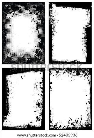 Black ink grunge border with white background and splat effect - stock vector