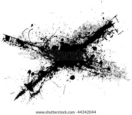 Black ink grunge splat with white background illustration - stock vector