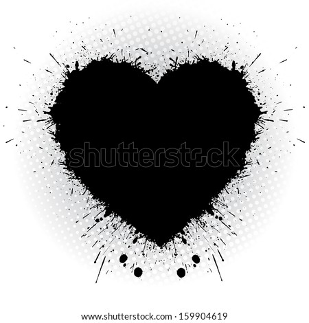 Black ink heart. Abstract vector illustrator. - stock vector