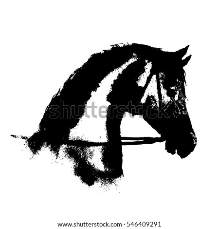 Black ink horse head silhouette with equestrian sport bridle on white. Hand drawing vector illustration.