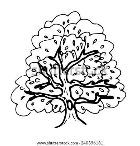 Black ink image of tree with hole - stock vector
